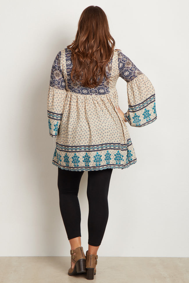 Ivory Printed Bell Sleeve Plus Size Tunic