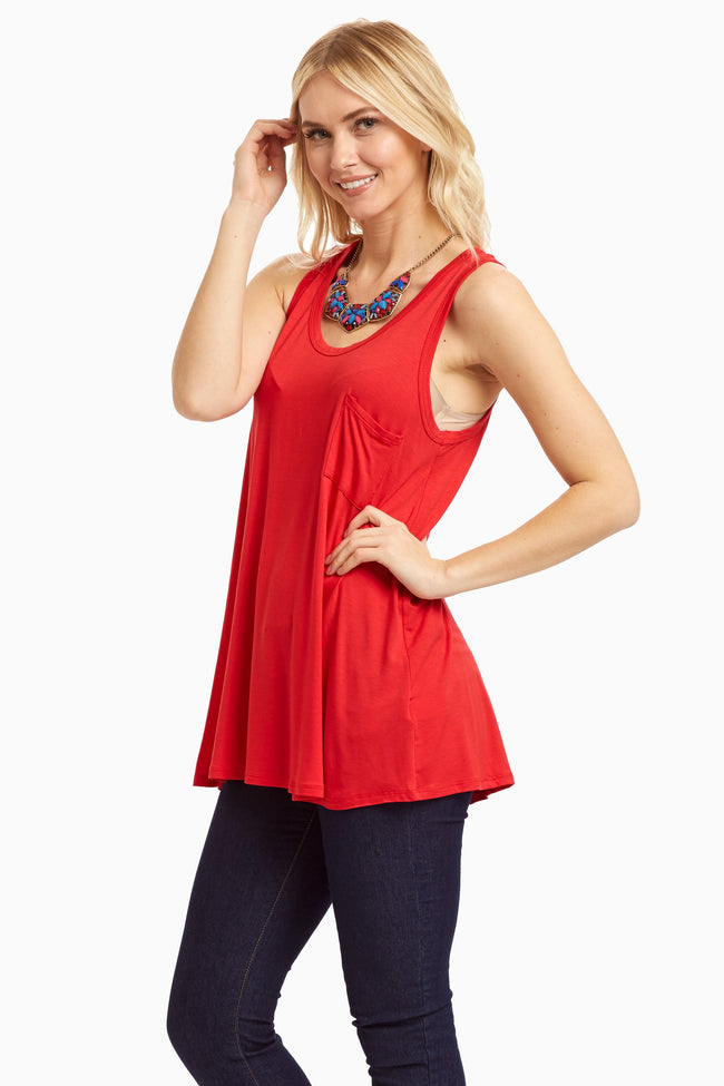 Red Solid Pocket Front Tank Top