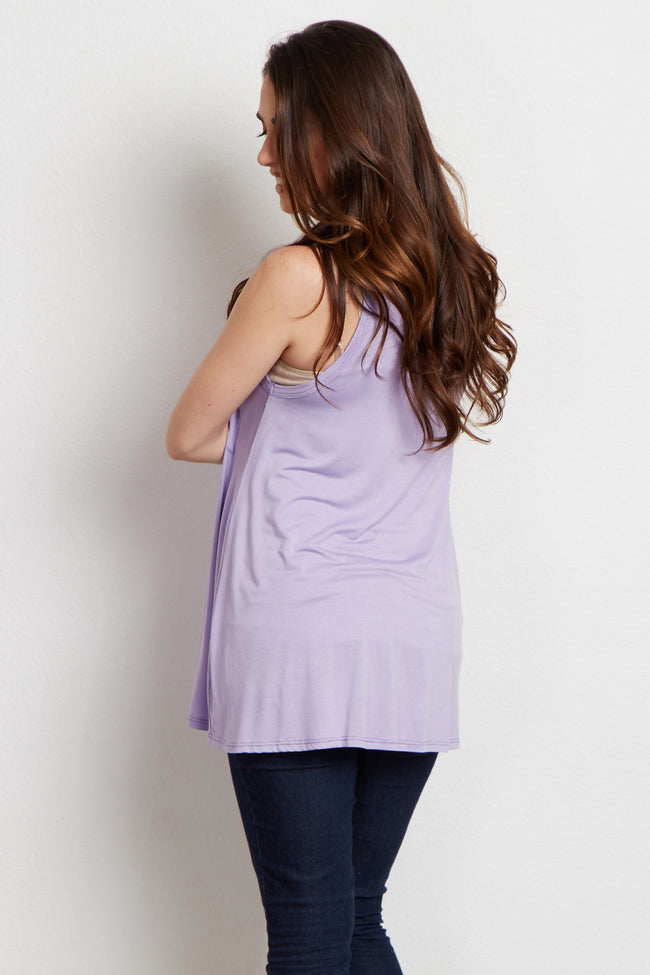 Lavender Solid Pocket Front Maternity Tank Top