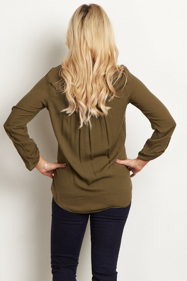 Olive Embroidered Tie Front Maternity Blouse