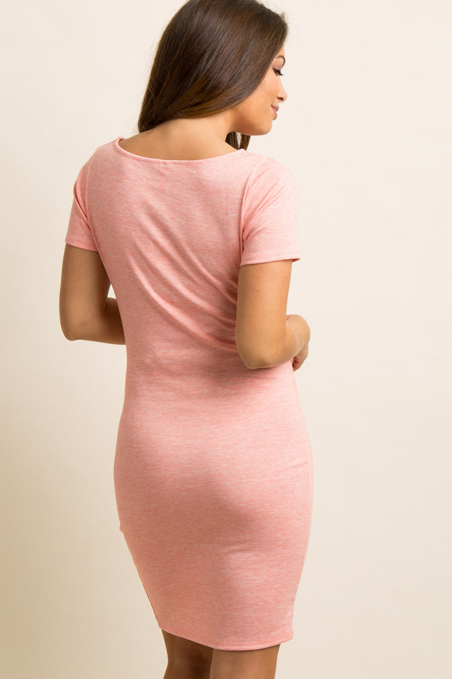 Petite Coral Short Sleeve Fitted Maternity Dress