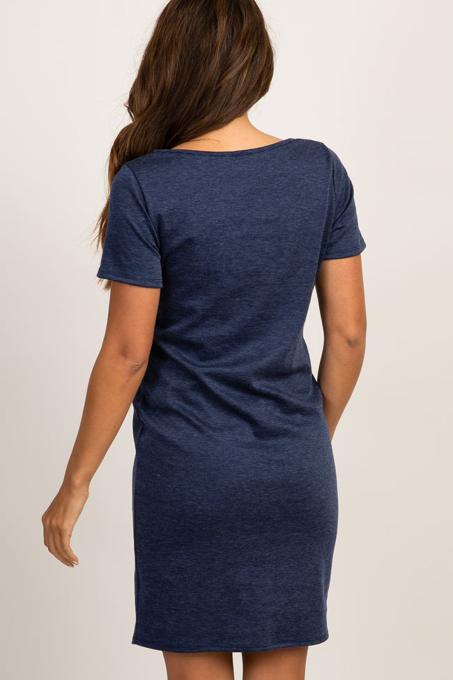 Navy Fitted Short Sleeve Maternity Dress