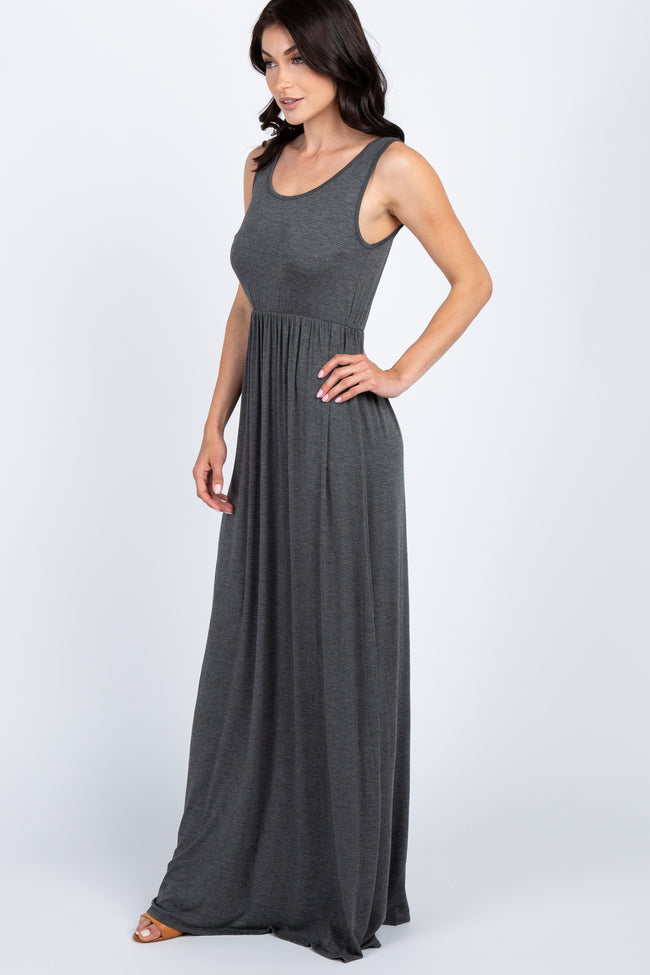 Charcoal Basic Sleeveless Maxi Dress