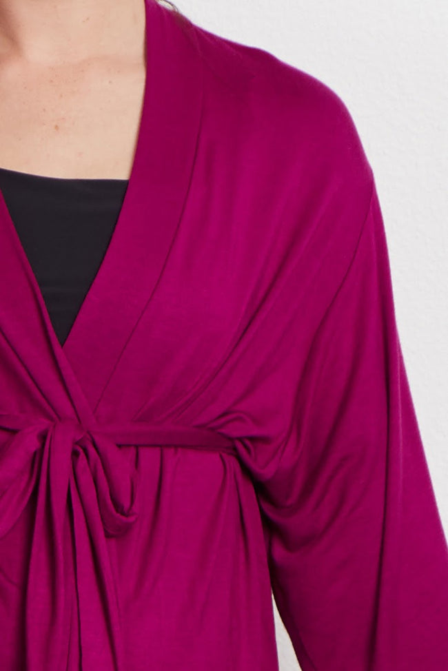 Magenta Crochet Trim Maternity Delivery/Nursing Robe