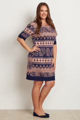 Navy Blue Paisley Print Short Plus Size Dress
