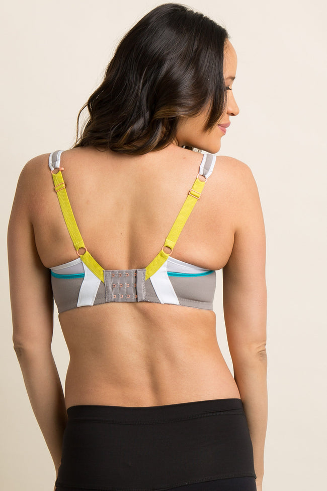 Cake Maternity Grey Lemon Zest Pro Impact Flexi-wire Nursing Sports Bra
