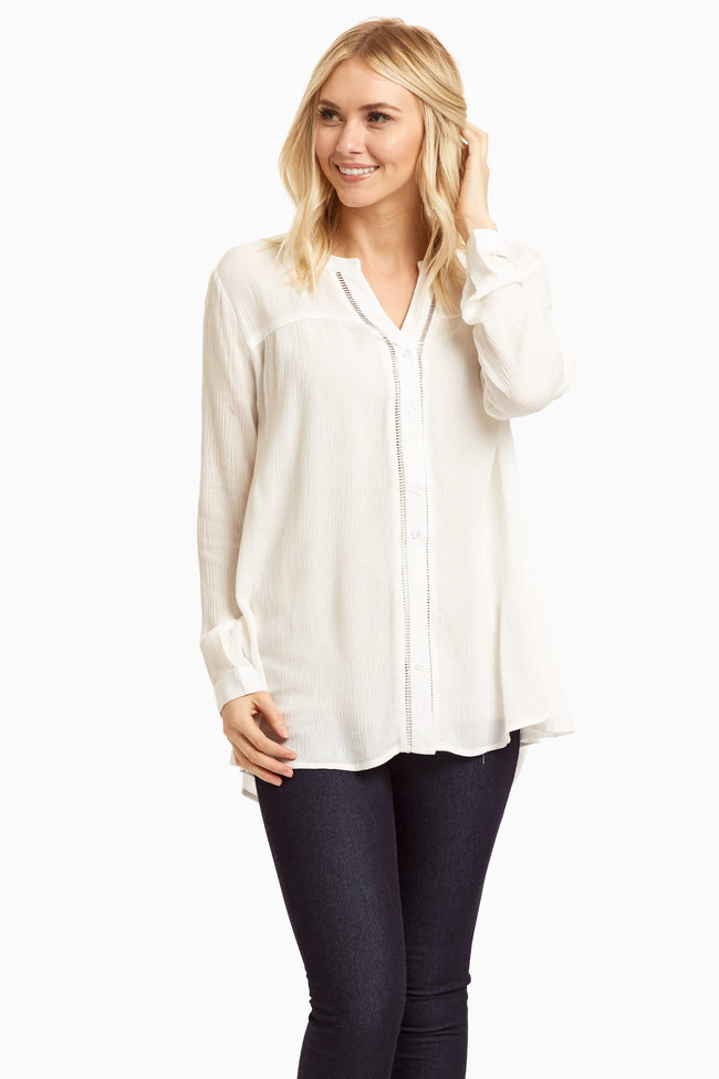 Ivory Cutout Accent V-Neckline Maternity Blouse