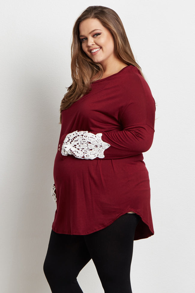 Burgundy Crochet Accent Sleeve Maternity Plus Size Top