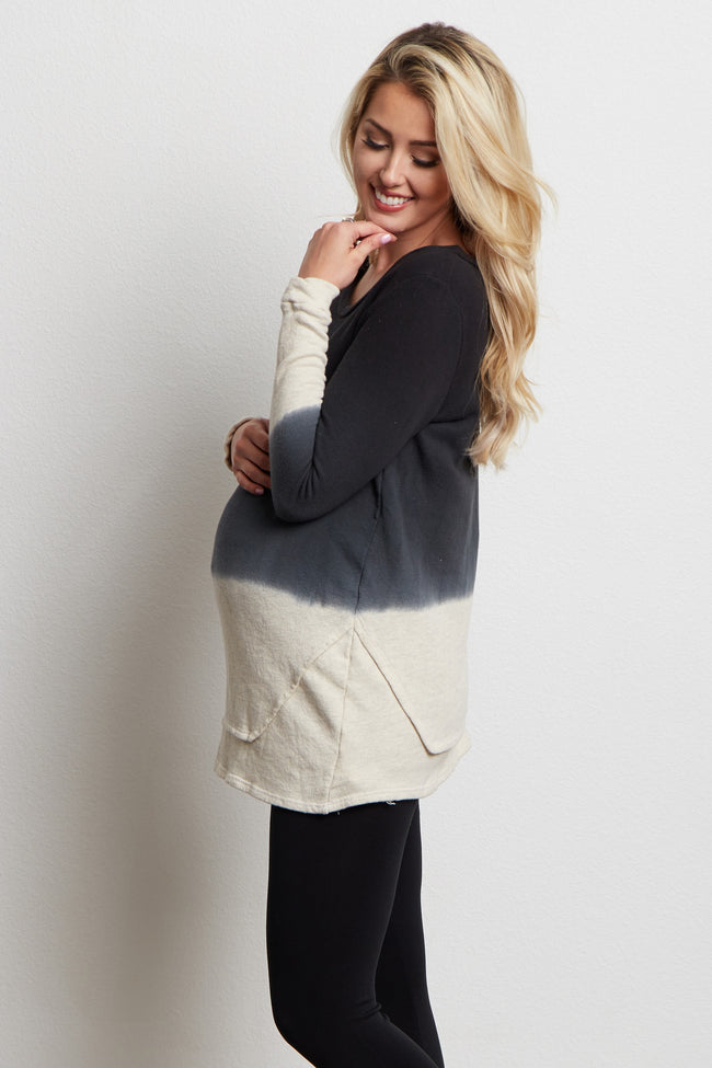 Black Colorblock Layered Detail Maternity Sweater Top