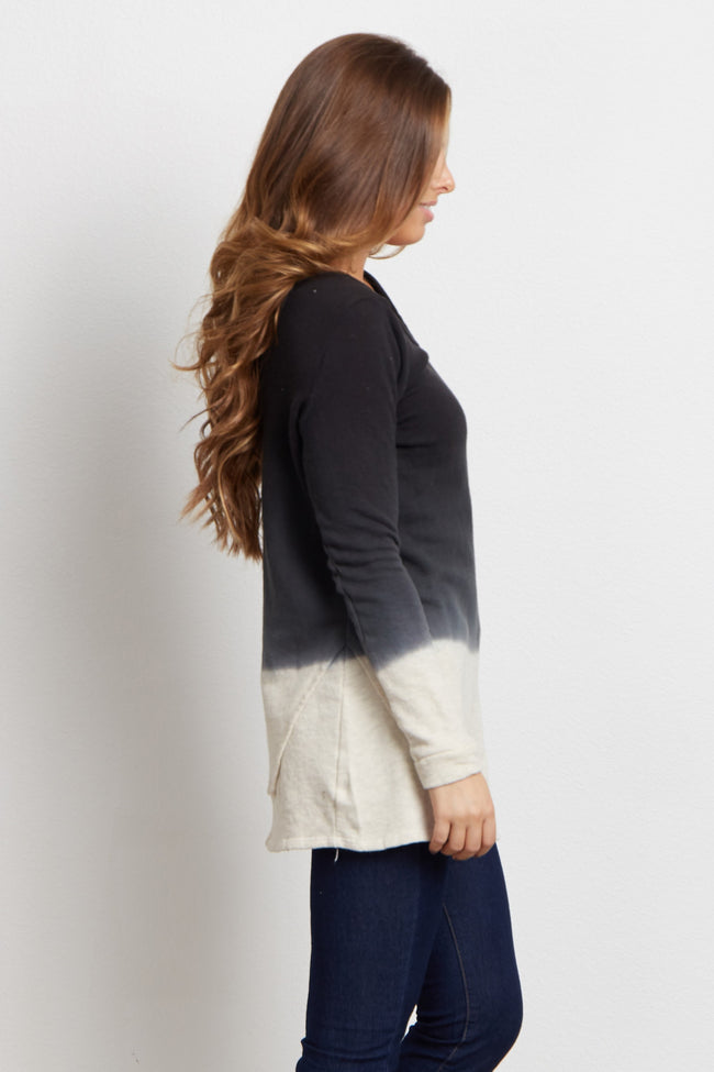 Black Colorblock Layered Detail Sweater Top