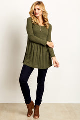 Olive Button Front Babydoll Top