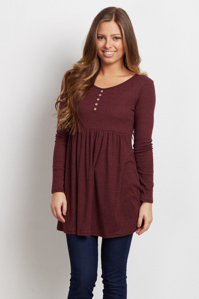 Burgundy Button Front Babydoll Maternity Top