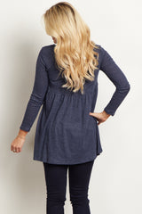 Navy Blue Button Front Babydoll Maternity Top