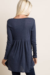 Navy Blue Button Front Babydoll Top