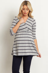 Navy Grey Striped Draped V-Neck Maternity/Nursing Top