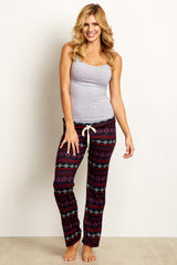Black Tribal Print Maternity Pajama/Lounge Pants
