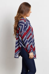 Burgundy Tribal Checkered Knit Top