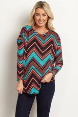 Jade Tribal Checkered Knit Maternity Top