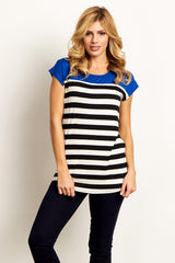 Blue Colorblock Striped Short Sleeve Top