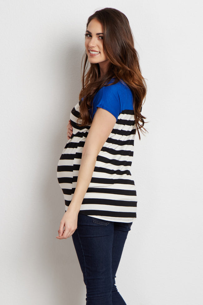 Blue Colorblock Striped Short Sleeve Maternity Top