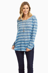 Blue Striped Long Sleeve Knit Maternity Top