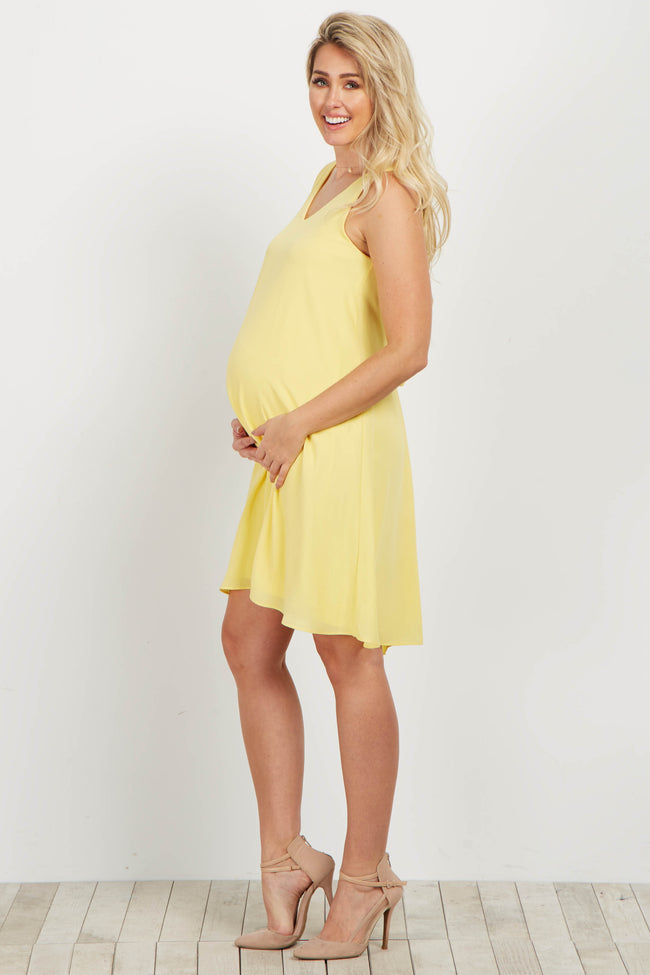Basic Yellow Chiffon Maternity Dress