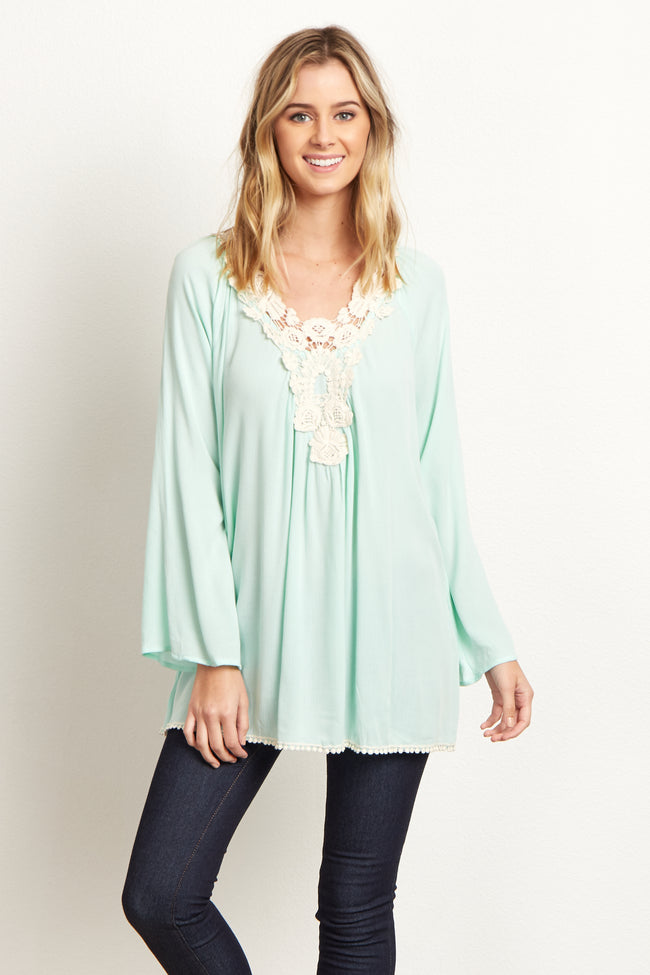 Mint Crochet Neckline Blouse