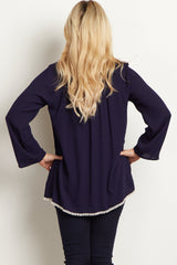 Navy Crochet Neckline Maternity Blouse