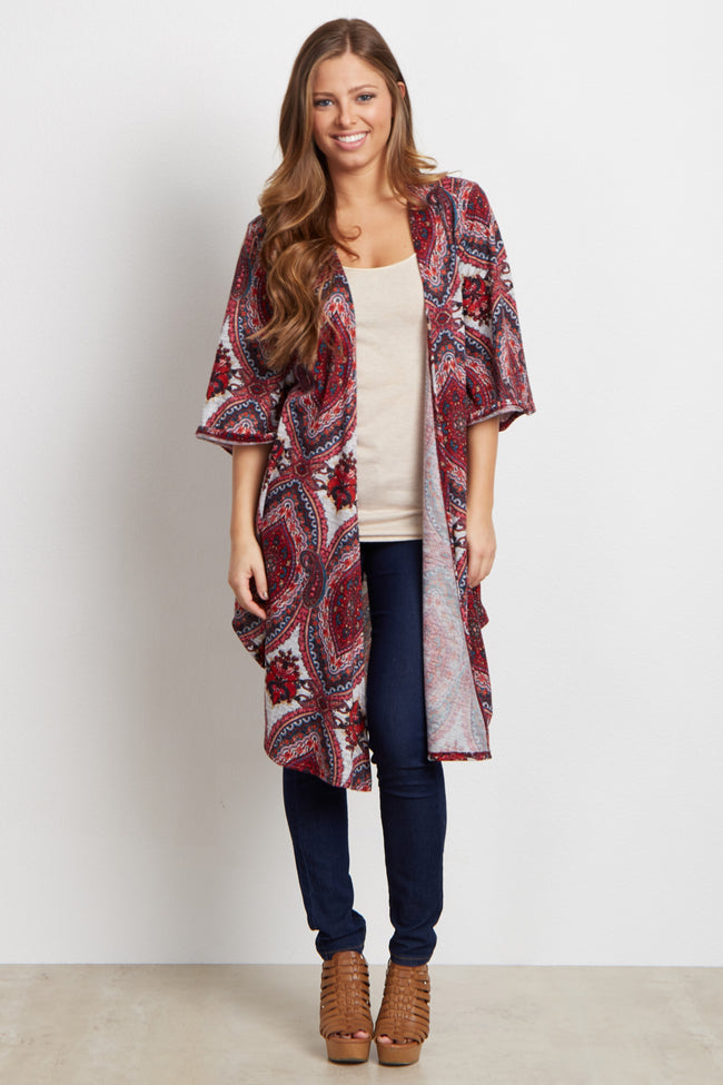 Red Paisley Print Knit Cover Up