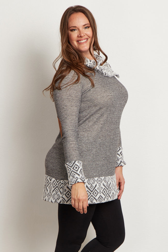 Grey Tribal Accent Zip Collar Suede Elbow Plus Size Top