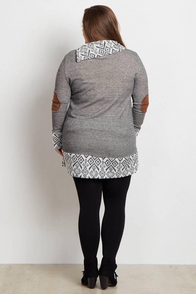 Grey Tribal Accent Zip Collar Suede Elbow Plus Size Maternity Top