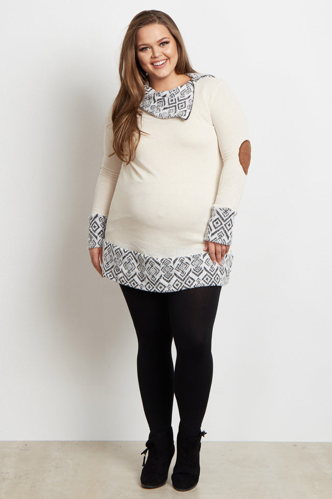 Ivory Tribal Accent Zip Collar Suede Elbow Plus Size Maternity Top