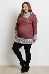Burgundy Tribal Zip Collar Suede Elbow Plus Size Maternity Top