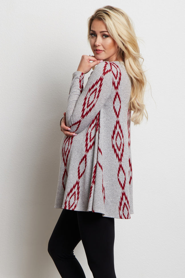 Red Diamond Tribal Knit Maternity Top