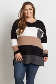 Black Colorblock Striped Pocket Front Plus Size Maternity Top