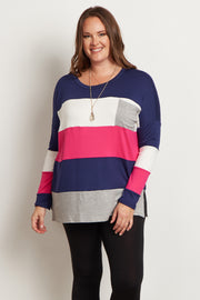 Pink Colorblock Striped Pocket Front Plus Size Top
