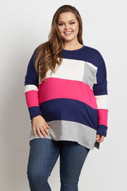 Pink Colorblock Striped Pocket Front Plus Size Maternity Top