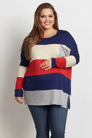 Rust Colorblock Striped Pocket Front Plus Size Maternity Top