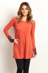 Rust Embroidered Accent Sleeve Top