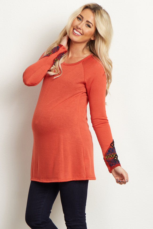Rust Embroidered Accent Sleeve Maternity Top