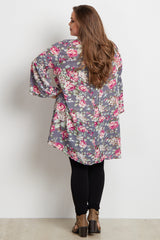 Grey Floral Bell Sleeve Plus Maternity Tunic