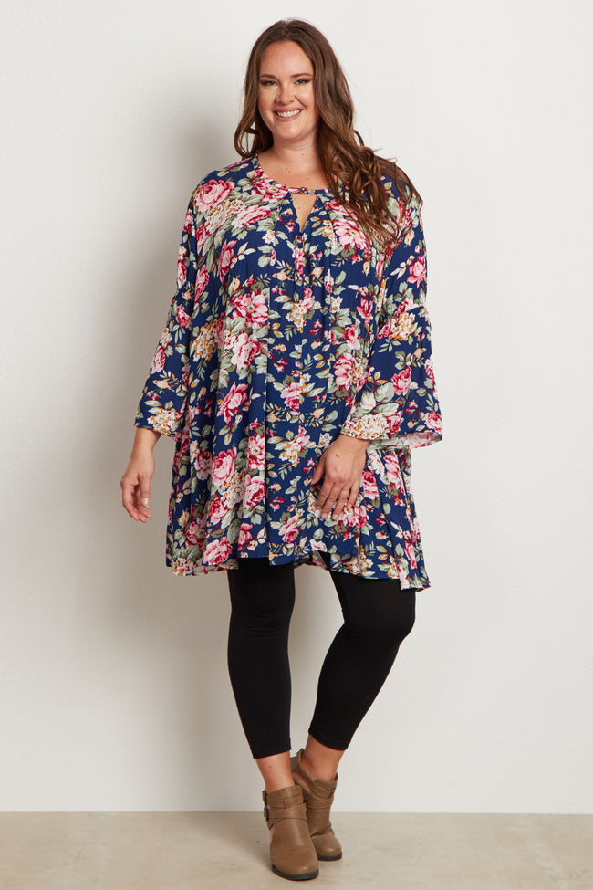 Navy Blue Floral Bell Sleeve Plus Size Tunic
