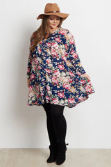 Navy Blue Floral Bell Sleeve Plus Size Maternity Tunic