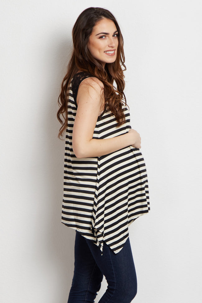 Black Striped Lace Accent Maternity Top