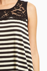 Black Striped Lace Accent Top