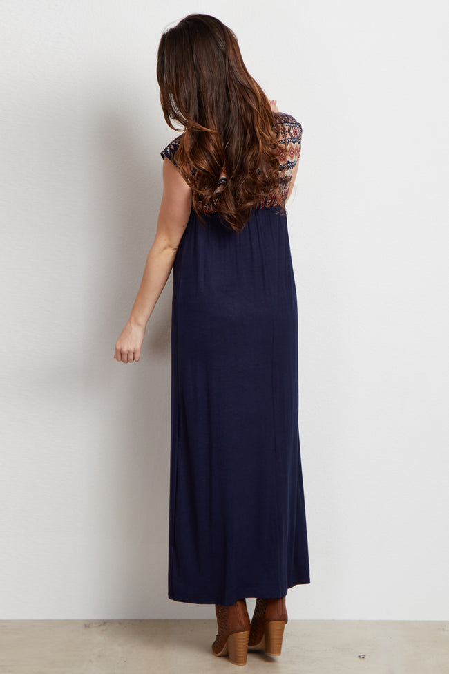 Peach Tribal Top V Neck Maternity/Nursing Maxi Dress