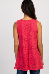 PinkBlush Coral Lace Maternity Tank Top