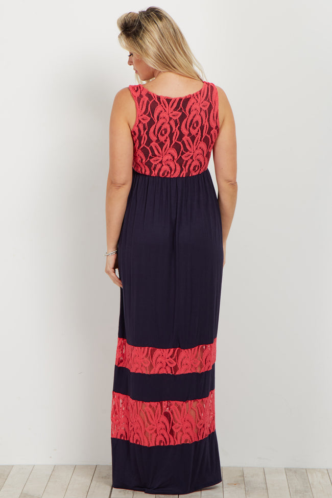 Coral Lace Colorblock Maternity Maxi Dress