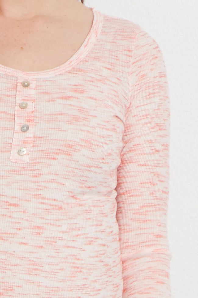 Coral Heathered Button Front Maternity Top