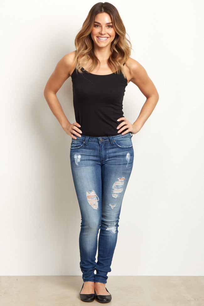 Medium Wash Distressed Skinny Jeans